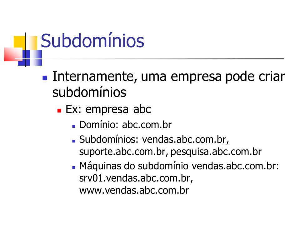 Subdomínios Internamente, uma empresa pode criar subdomínios Ex: empresa abc Domínio: abc.com.br Subdomínios: vendas.abc.com.br, suporte.abc.com.br, p