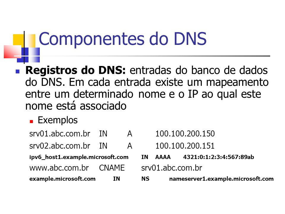 Componentes do DNS Registros do DNS: entradas do banco de dados do DNS. Em cada entrada existe um mapeamento entre um determinado nome e o IP ao qual