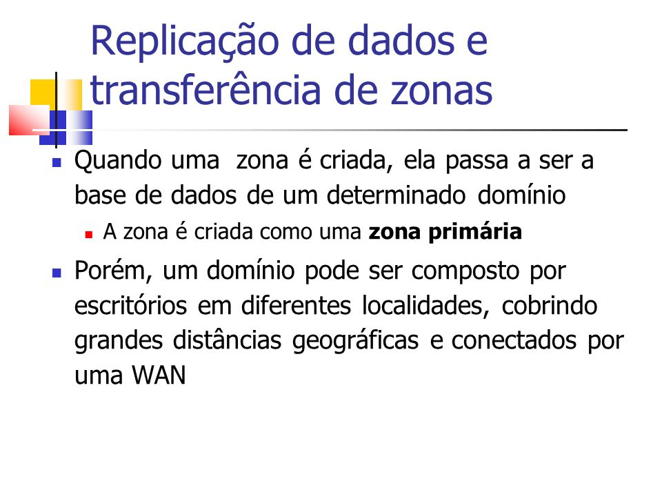 Replicação de dados e transferência de zonas Quando uma zona é criada, ela passa a ser a base de dados de um determinado domínio A zona é criada como