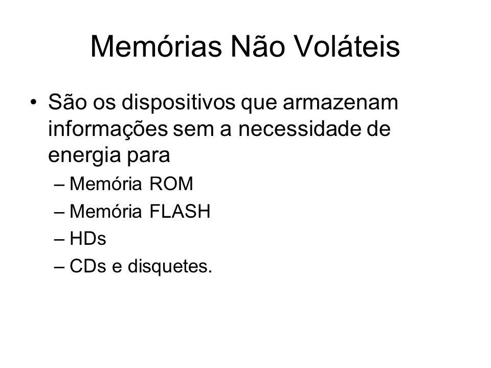 Memórias Não Voláteis São os dispositivos que armazenam informações sem a necessidade de energia para –Memória ROM –Memória FLASH –HDs –CDs e disquetes.
