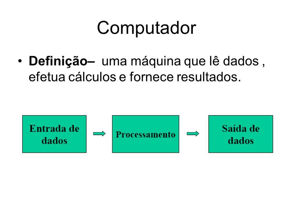 Computador Definição– uma máquina que lê dados, efetua cálculos e fornece resultados.