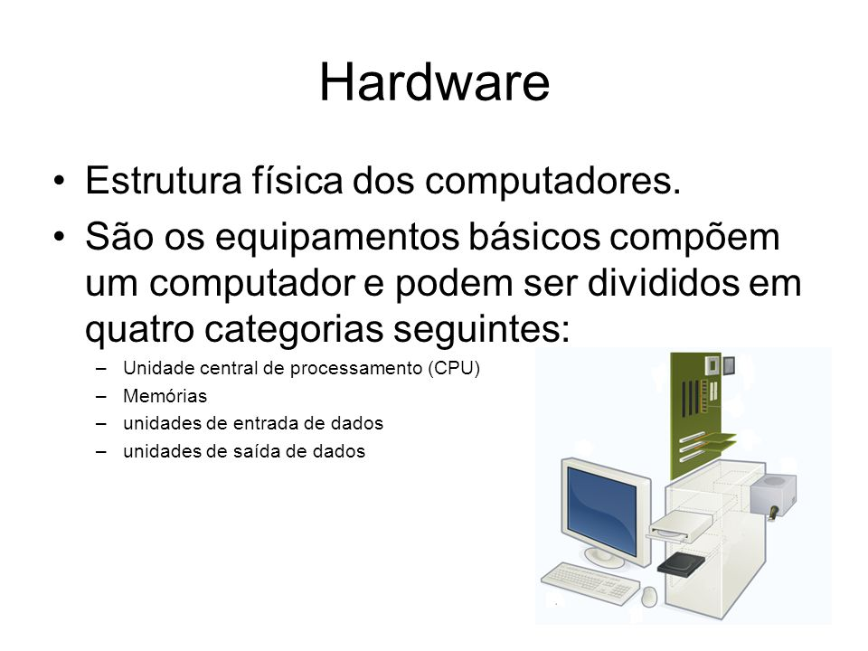 Hardware Estrutura física dos computadores.