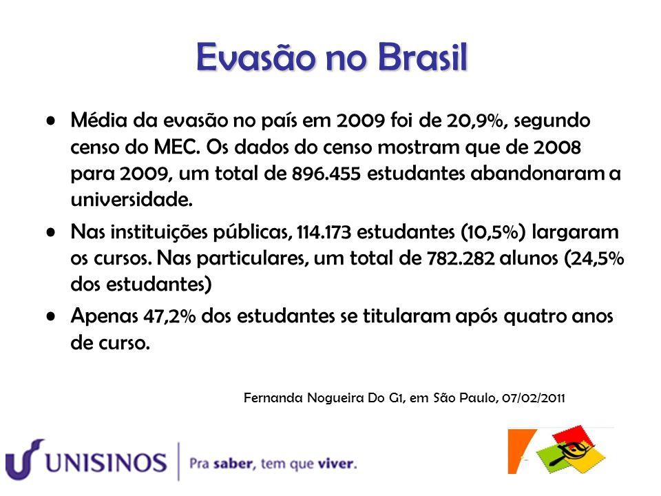 Evasão no Brasil Média da evasão no país em 2009 foi de 20,9%, segundo censo do MEC. Os dados do censo mostram que de 2008 para 2009, um total de 896.