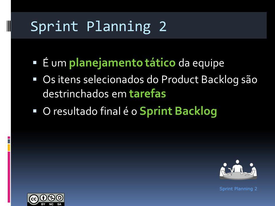 Sprint Planning 2 É um planejamento tático da equipe Os itens selecionados do Product Backlog são destrinchados em tarefas O resultado final é o Sprin
