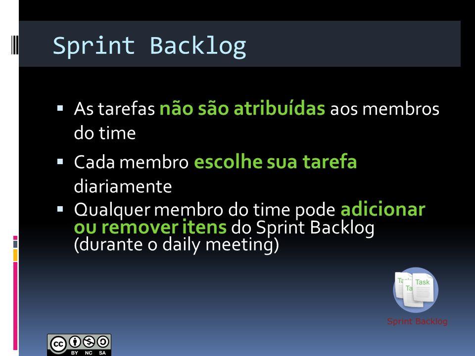 Sprint Backlog As tarefas não são atribuídas aos membros do time Cada membro escolhe sua tarefa diariamente Qualquer membro do time pode adicionar ou