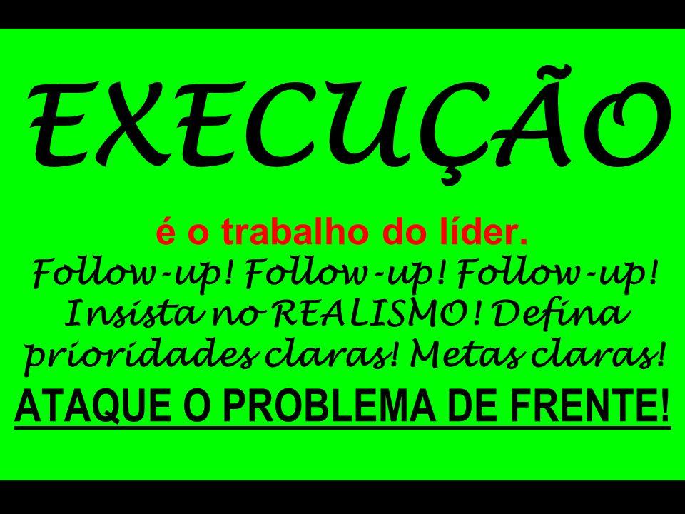EXECUÇÃO é o trabalho do líder. Follow-up! Follow-up! Follow-up! Insista no REALISMO! Defina prioridades claras! Metas claras! ATAQUE O PROBLEMA DE FR