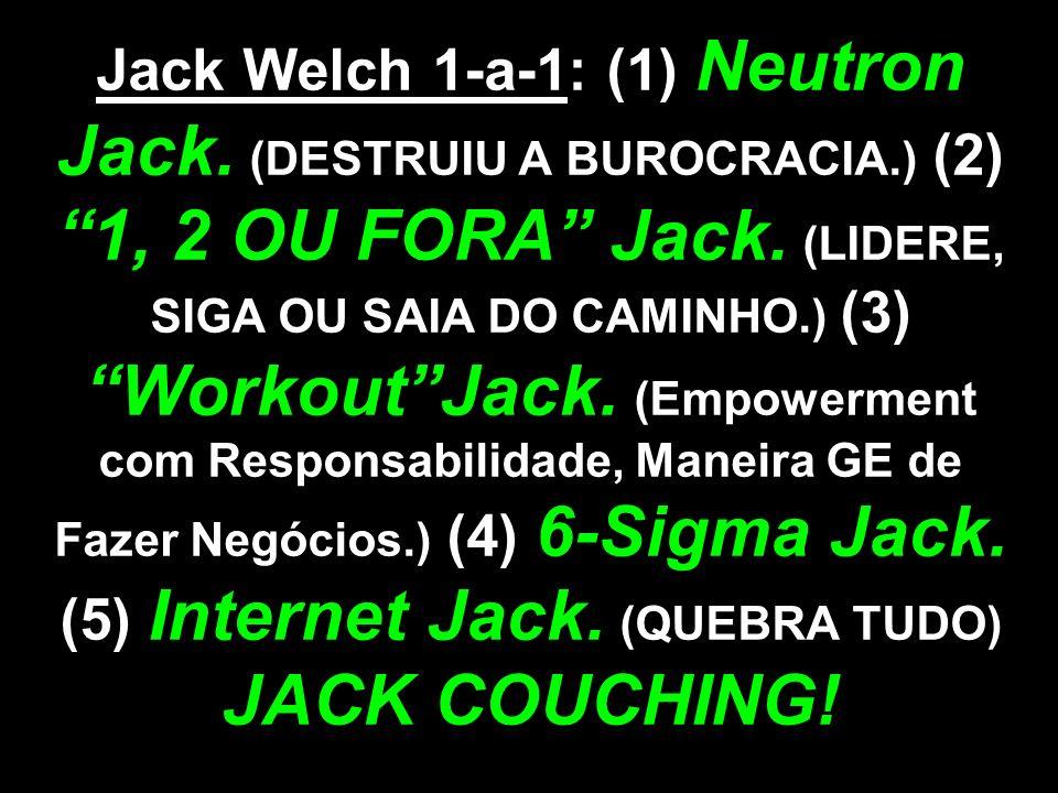 Jack Welch 1-a-1: (1) Neutron Jack. (DESTRUIU A BUROCRACIA.) (2) 1, 2 OU FORA Jack. (LIDERE, SIGA OU SAIA DO CAMINHO.) (3) WorkoutJack. (Empowerment c