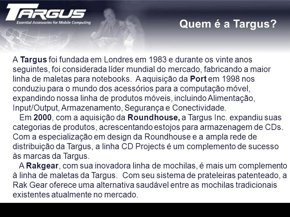A Targus foi fundada em Londres em 1983 e durante os vinte anos seguintes, foi considerada líder mundial do mercado, fabricando a maior linha de malet
