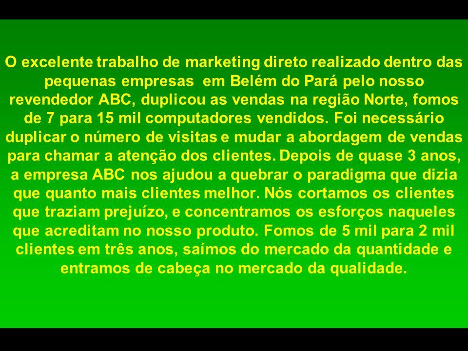 O excelente trabalho de marketing direto realizado dentro das pequenas empresas em Belém do Pará pelo nosso revendedor ABC, duplicou as vendas na regi