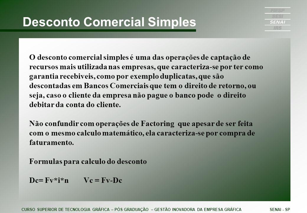Conceito de Desconto Comercial Simples O conceito da Dc = FV*i*n é: Uma determinada duplicata que vai vencer em 20 dias tem o valor de $ 10.000,00 e será descontada por uma taxa de 4% a.m Representação gráfica da operação; CURSO SUPERIOR DE TECNOLOGIA GRÁFICA – PÓS GRADUAÇÃO – GESTÃO INOVADORA DA EMPRESA GRÁFICASENAI - SP Fv= $ 10.000,00 n= 20dias i=4%a.m ou 0,133% a.m
