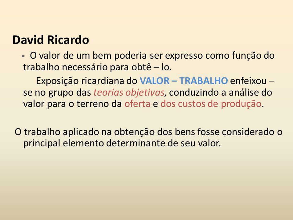 David Ricardo - O valor de um bem poderia ser expresso como função do trabalho necessário para obtê – lo. Exposição ricardiana do VALOR – TRABALHO enf