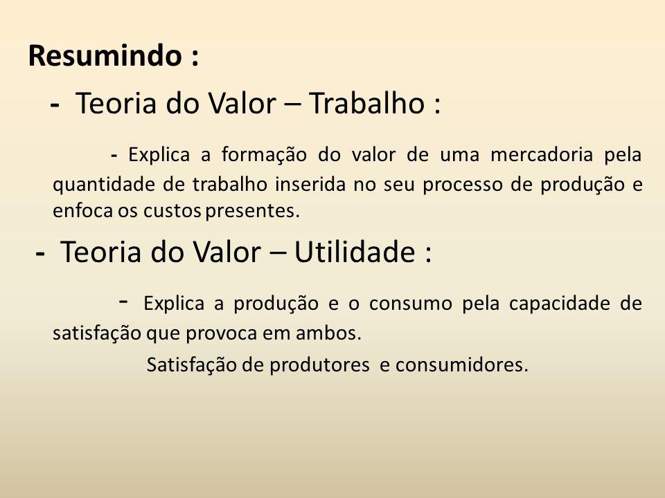 Resumindo : - Teoria do Valor – Trabalho : - Explica a formação do valor de uma mercadoria pela quantidade de trabalho inserida no seu processo de pro