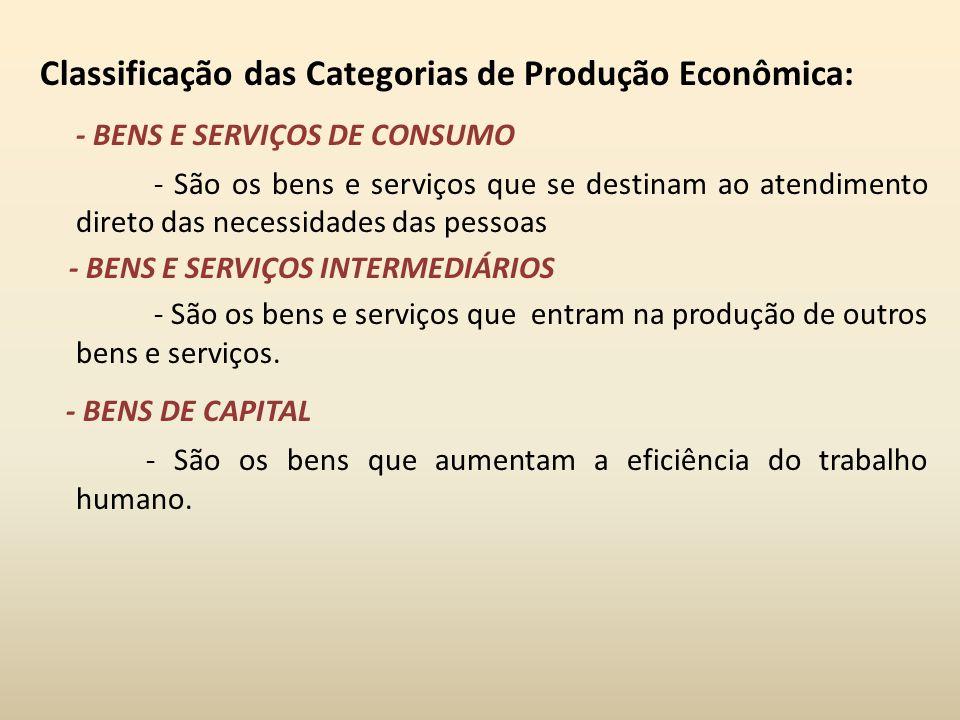 Classificação das Categorias de Produção Econômica: - BENS E SERVIÇOS DE CONSUMO - São os bens e serviços que se destinam ao atendimento direto das ne