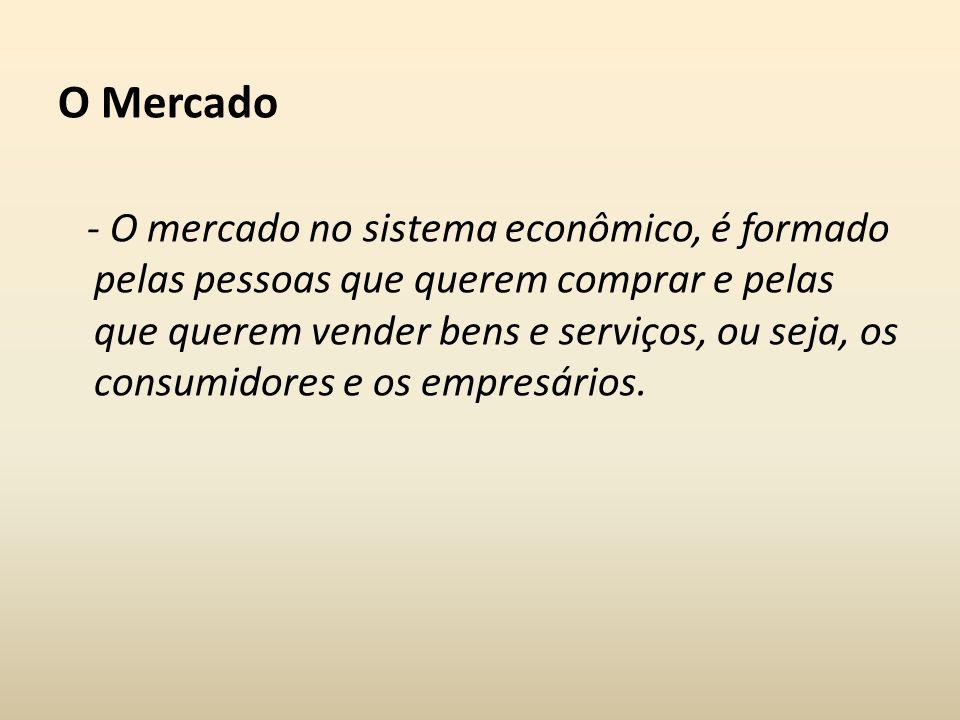 O Mercado - O mercado no sistema econômico, é formado pelas pessoas que querem comprar e pelas que querem vender bens e serviços, ou seja, os consumid
