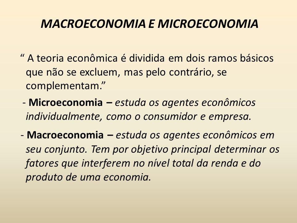 MACROECONOMIA E MICROECONOMIA A teoria econômica é dividida em dois ramos básicos que não se excluem, mas pelo contrário, se complementam. - Microecon