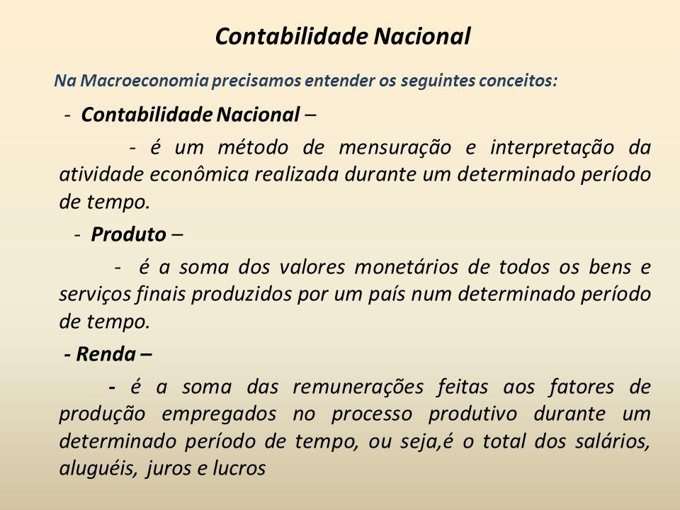 Contabilidade Nacional Na Macroeconomia precisamos entender os seguintes conceitos: - Contabilidade Nacional – - é um método de mensuração e interpret