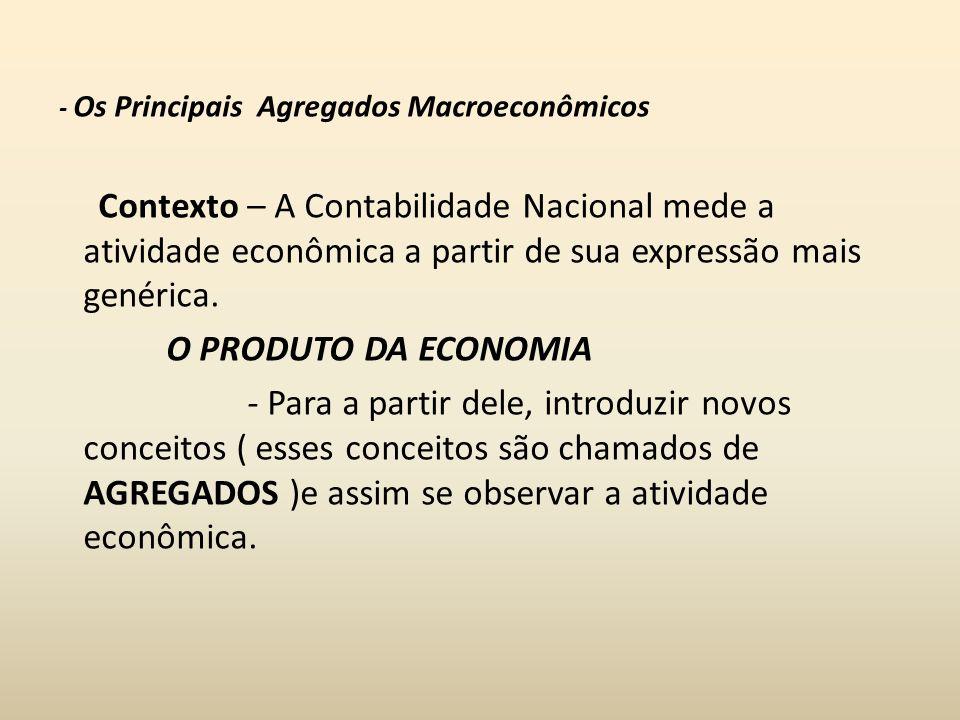 - Os Principais Agregados Macroeconômicos Contexto – A Contabilidade Nacional mede a atividade econômica a partir de sua expressão mais genérica. O PR