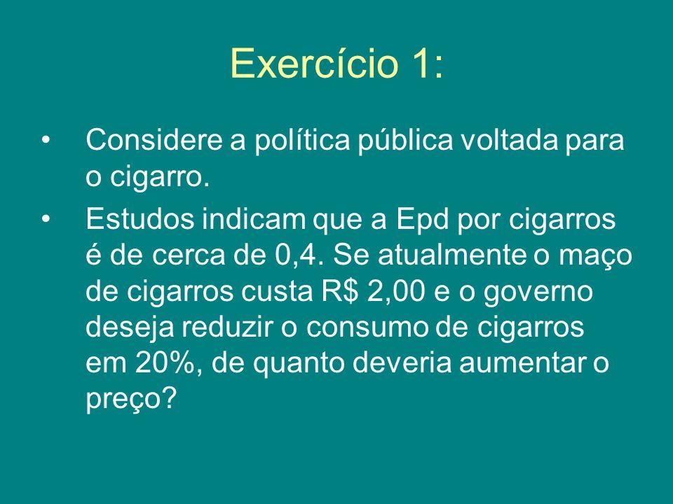 Exercício 1: Considere a política pública voltada para o cigarro. Estudos indicam que a Epd por cigarros é de cerca de 0,4. Se atualmente o maço de ci