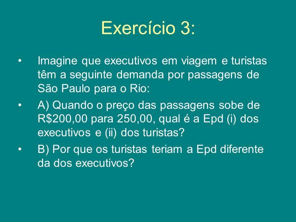 Exercício 3: Imagine que executivos em viagem e turistas têm a seguinte demanda por passagens de São Paulo para o Rio: A) Quando o preço das passagens