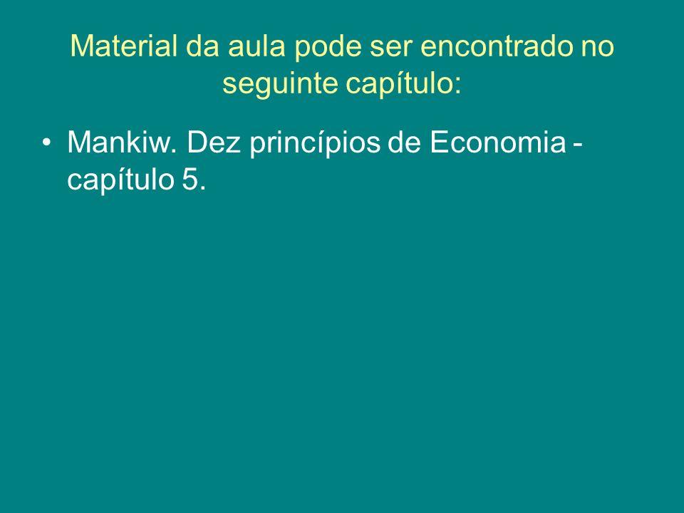 Material da aula pode ser encontrado no seguinte capítulo: Mankiw. Dez princípios de Economia - capítulo 5.