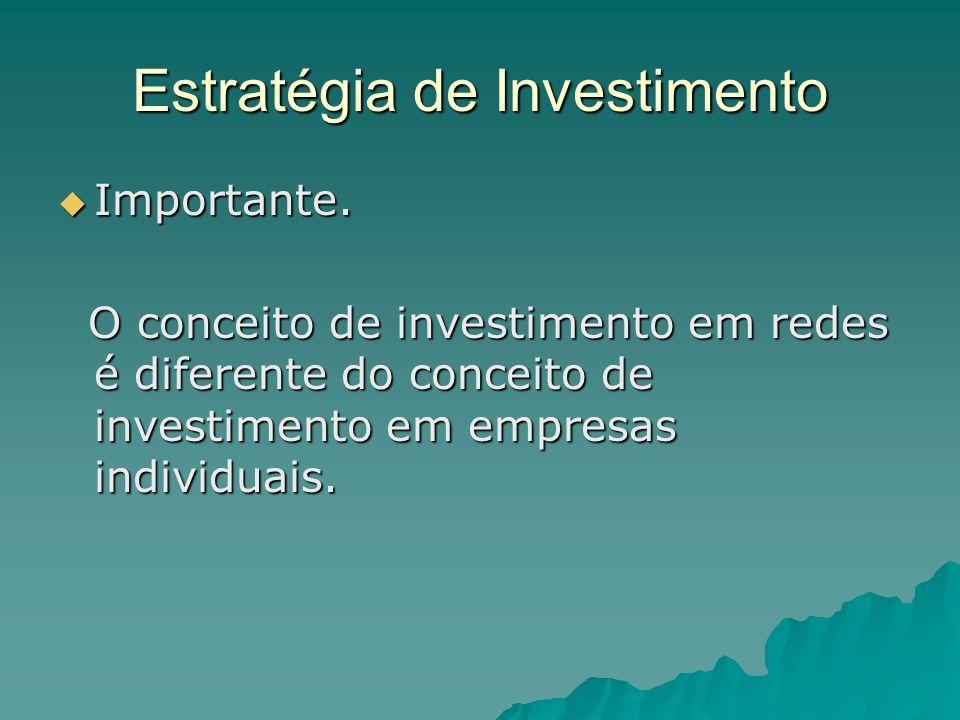 Estratégia de Investimento Importante. Importante. O conceito de investimento em redes é diferente do conceito de investimento em empresas individuais