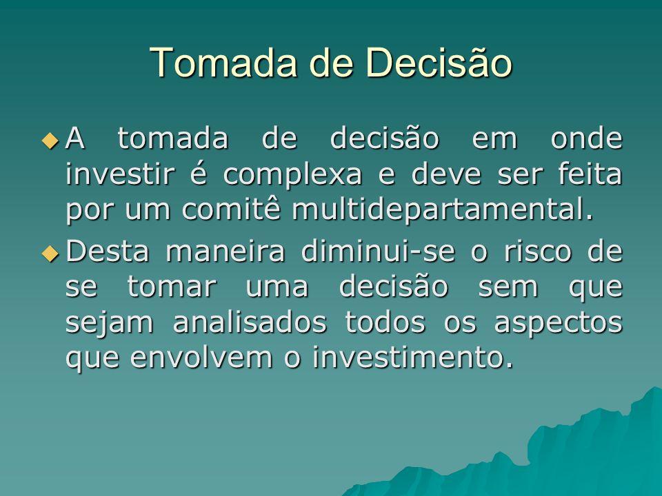 Tomada de Decisão A tomada de decisão em onde investir é complexa e deve ser feita por um comitê multidepartamental. A tomada de decisão em onde inves