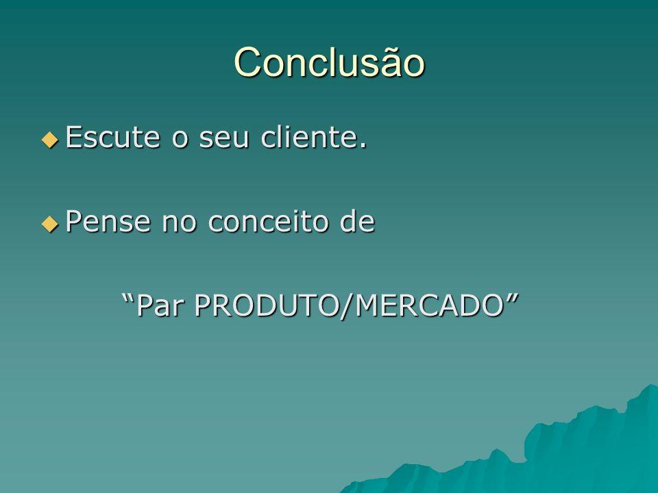 Conclusão Escute o seu cliente. Escute o seu cliente. Pense no conceito de Pense no conceito de Par PRODUTO/MERCADO Par PRODUTO/MERCADO