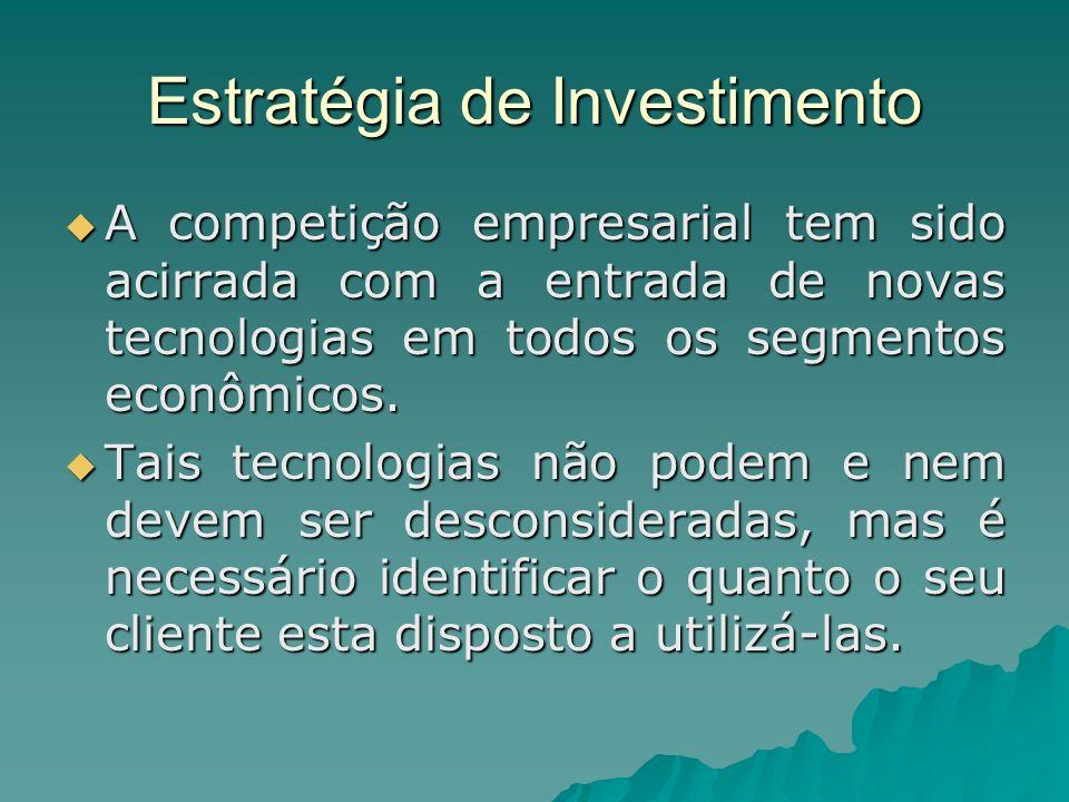 Estratégia de Investimento A competição empresarial tem sido acirrada com a entrada de novas tecnologias em todos os segmentos econômicos. A competiçã