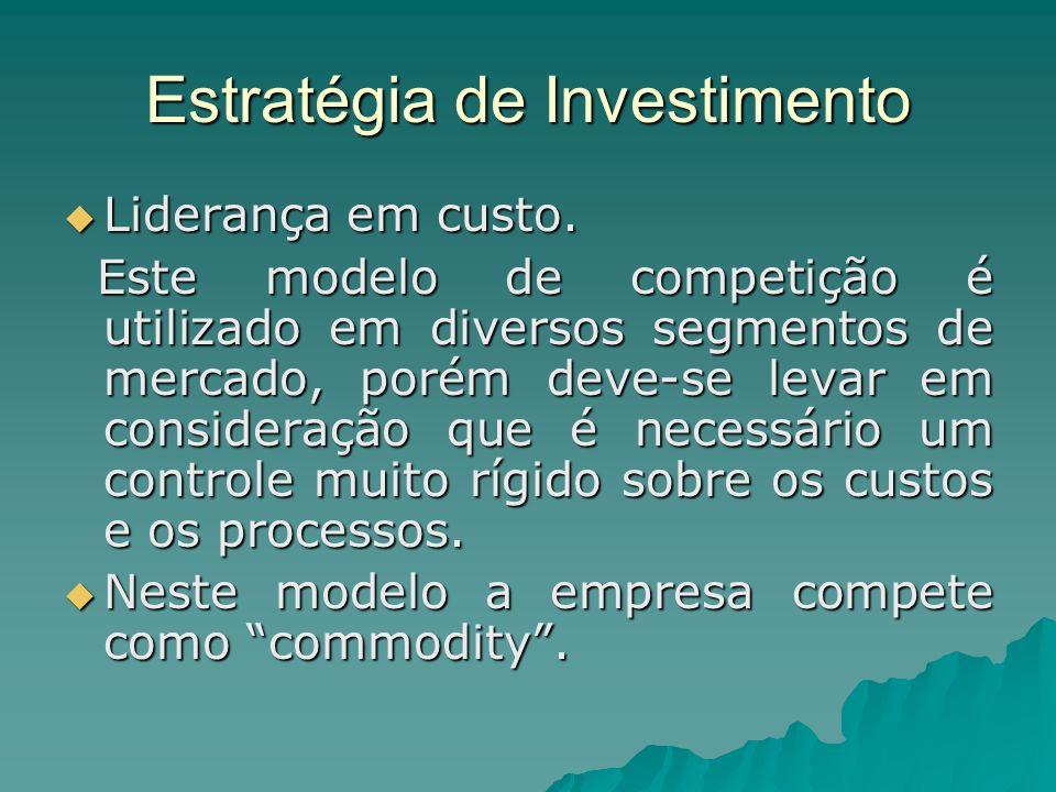 Estratégia de Investimento Liderança em custo. Liderança em custo. Este modelo de competição é utilizado em diversos segmentos de mercado, porém deve-