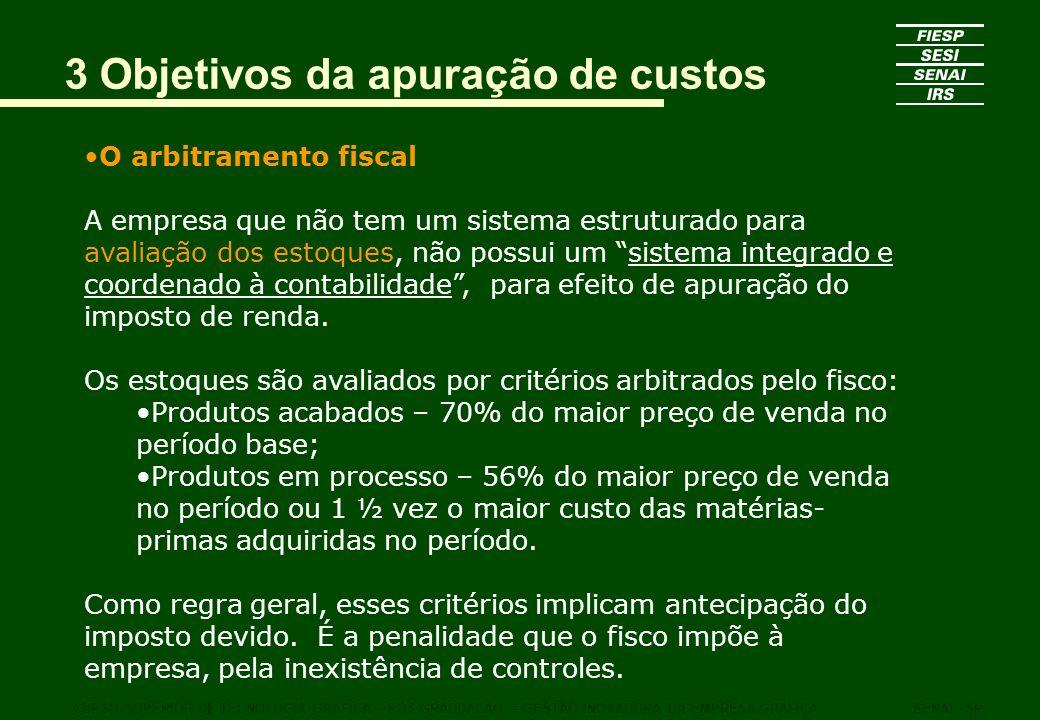 3 Objetivos da apuração de custos O arbitramento fiscal A empresa que não tem um sistema estruturado para avaliação dos estoques, não possui um sistem