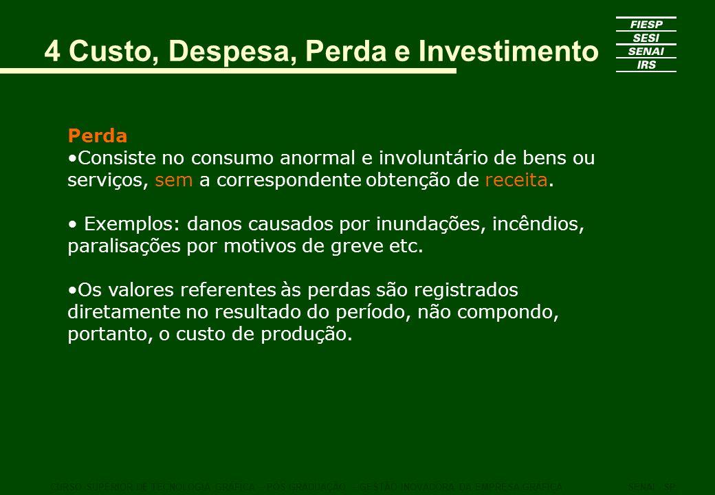 Perda Consiste no consumo anormal e involuntário de bens ou serviços, sem a correspondente obtenção de receita. Exemplos: danos causados por inundaçõe