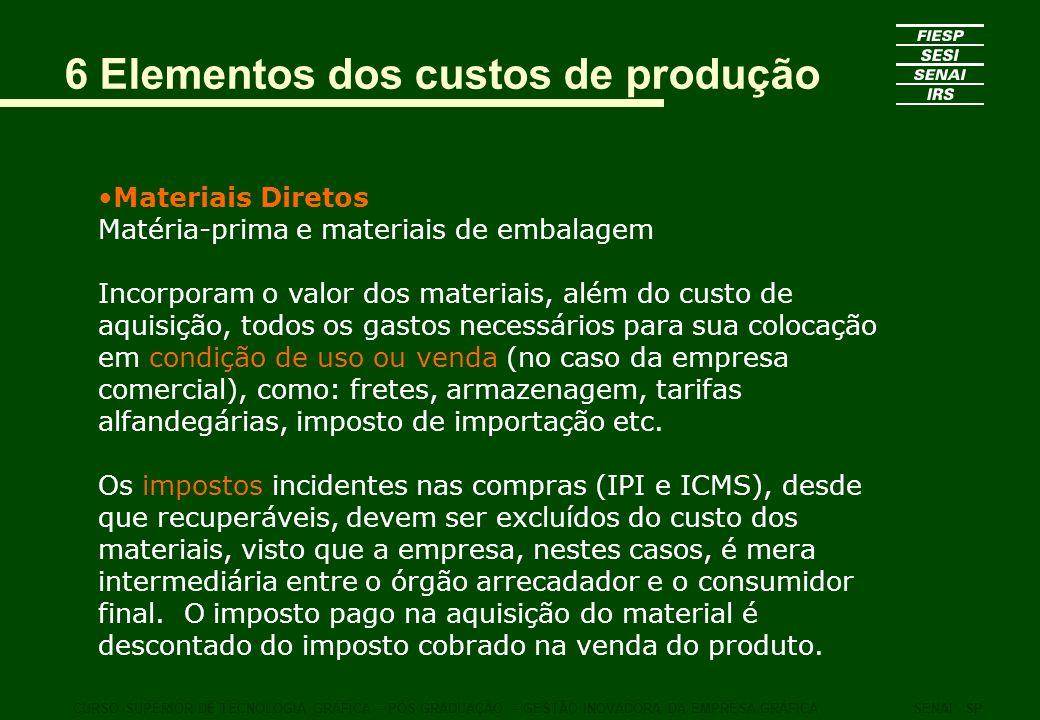 6 Elementos dos custos de produção Materiais Diretos Matéria-prima e materiais de embalagem Incorporam o valor dos materiais, além do custo de aquisiç