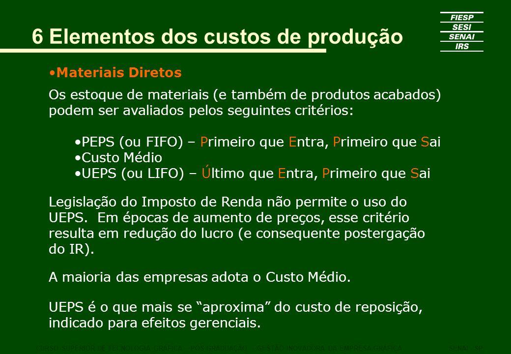 6 Elementos dos custos de produção Materiais Diretos Os estoque de materiais (e também de produtos acabados) podem ser avaliados pelos seguintes crité