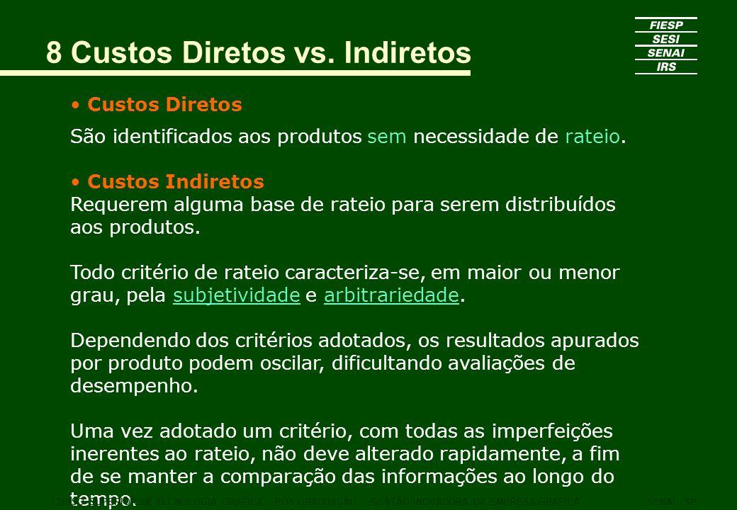 8 Custos Diretos vs. Indiretos Custos Diretos São identificados aos produtos sem necessidade de rateio. Custos Indiretos Requerem alguma base de ratei