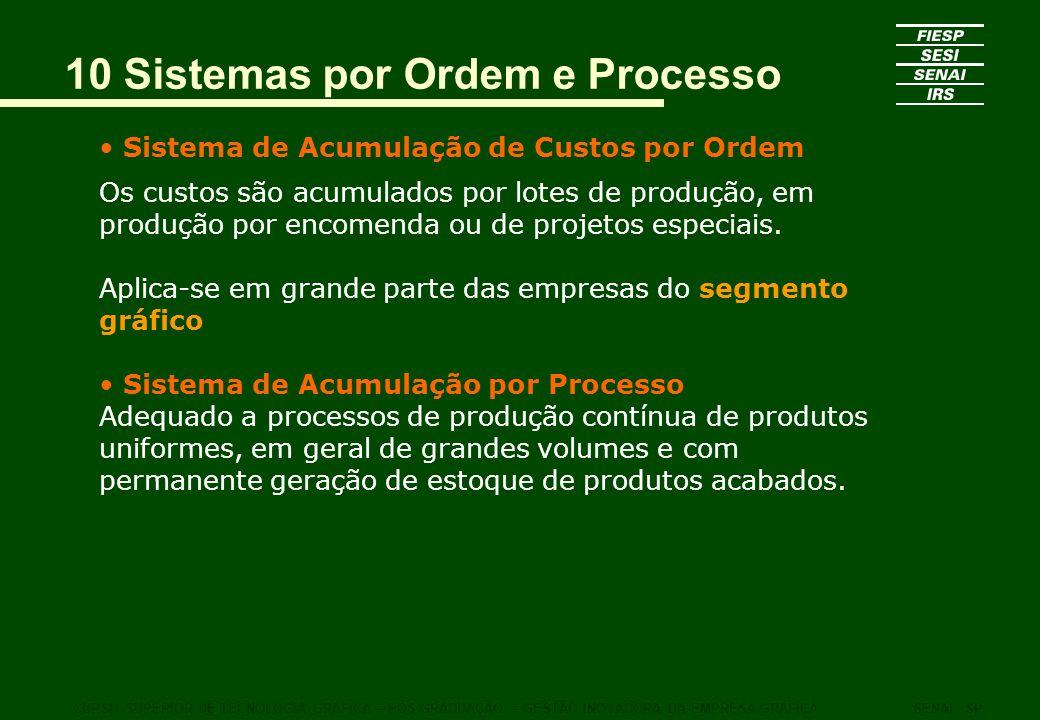 10 Sistemas por Ordem e Processo Sistema de Acumulação de Custos por Ordem Os custos são acumulados por lotes de produção, em produção por encomenda o