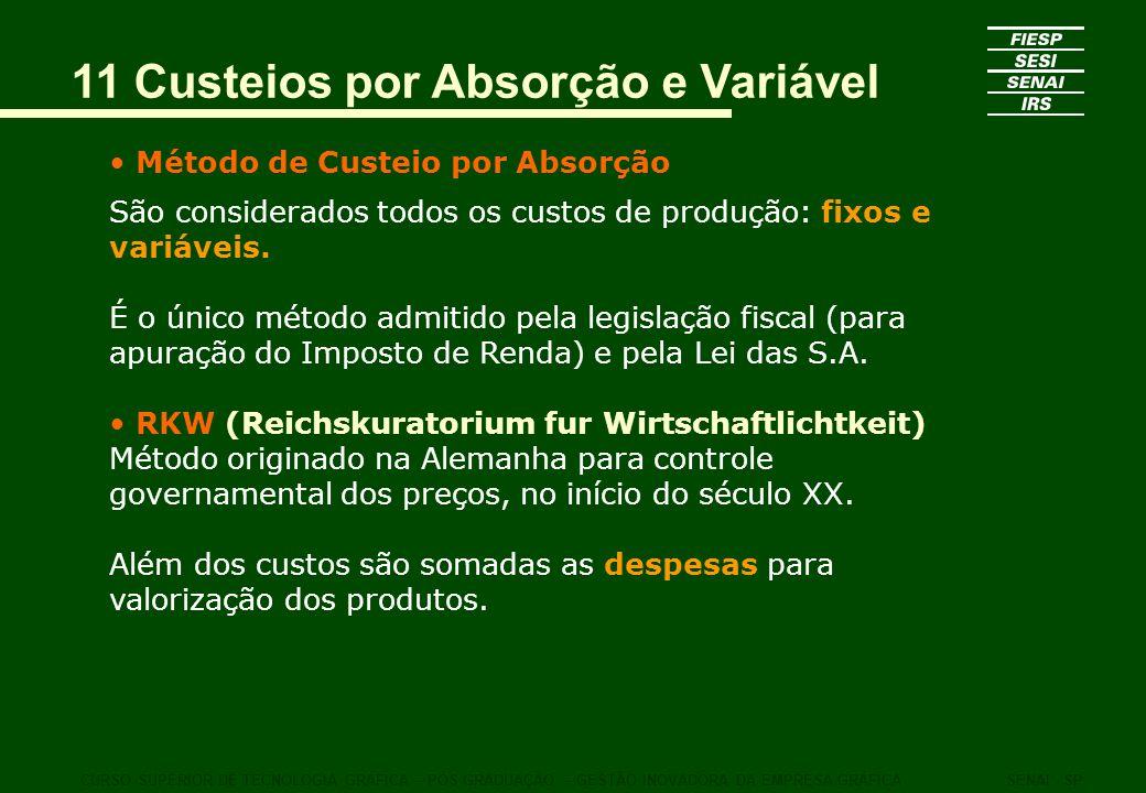 11 Custeios por Absorção e Variável Método de Custeio por Absorção São considerados todos os custos de produção: fixos e variáveis. É o único método a