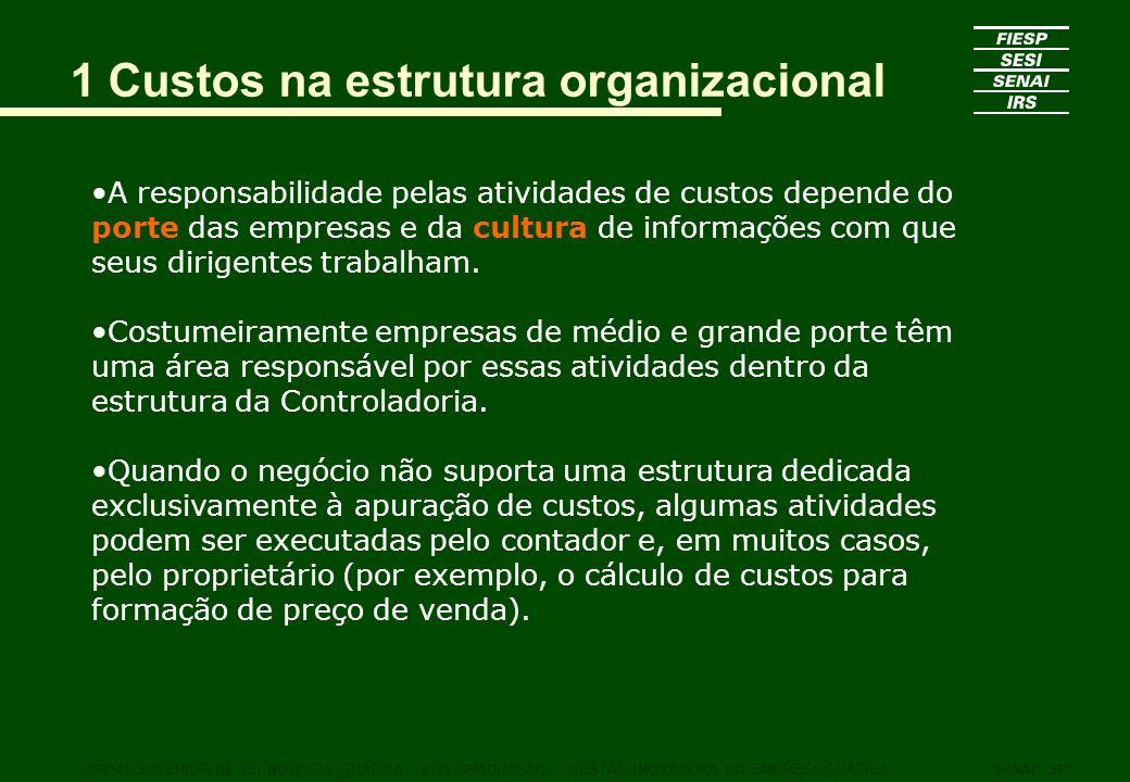 1 Custos na estrutura organizacional A responsabilidade pelas atividades de custos depende do porte das empresas e da cultura de informações com que s