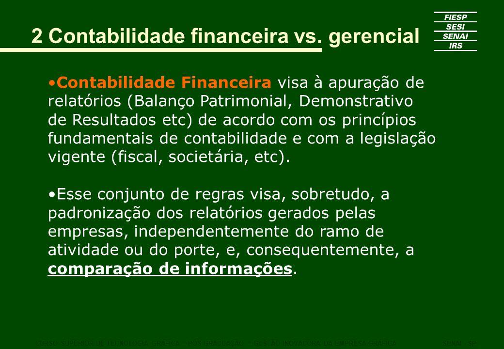 2 Contabilidade financeira vs. gerencial Contabilidade Financeira visa à apuração de relatórios (Balanço Patrimonial, Demonstrativo de Resultados etc)