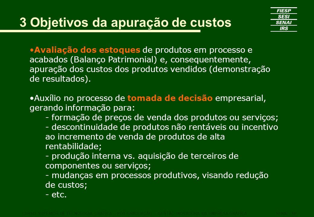 3 Objetivos da apuração de custos Avaliação dos estoques de produtos em processo e acabados (Balanço Patrimonial) e, consequentemente, apuração dos cu