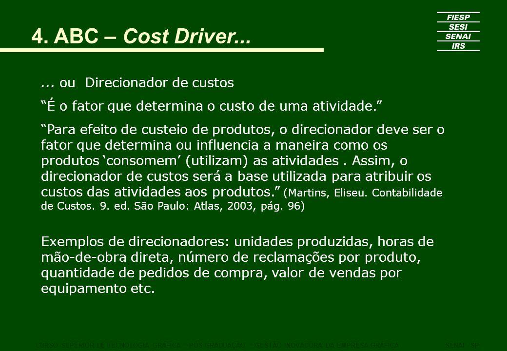 4. ABC – Cost Driver... CURSO SUPERIOR DE TECNOLOGIA GRÁFICA – PÓS GRADUAÇÃO – GESTÃO INOVADORA DA EMPRESA GRÁFICASENAI - SP... ou Direcionador de cus