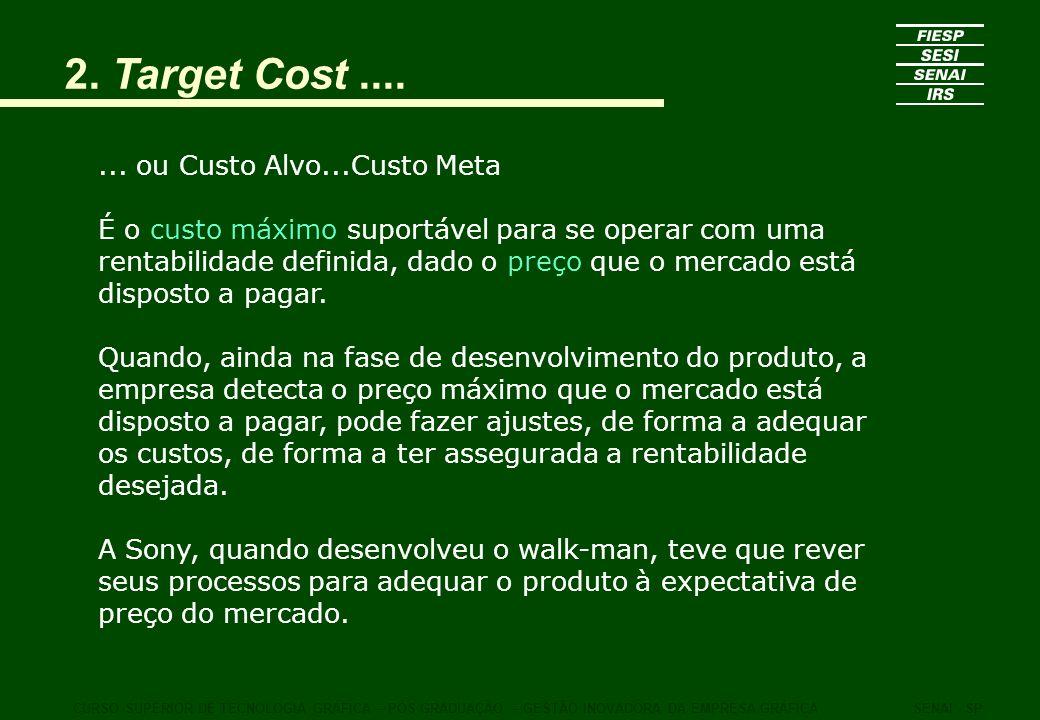 2. Target Cost....... ou Custo Alvo...Custo Meta É o custo máximo suportável para se operar com uma rentabilidade definida, dado o preço que o mercado
