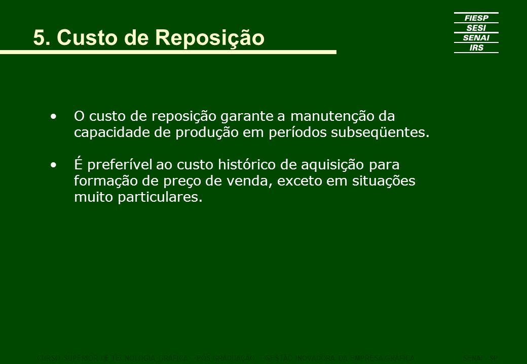 5. Custo de Reposição O custo de reposição garante a manutenção da capacidade de produção em períodos subseqüentes. É preferível ao custo histórico de