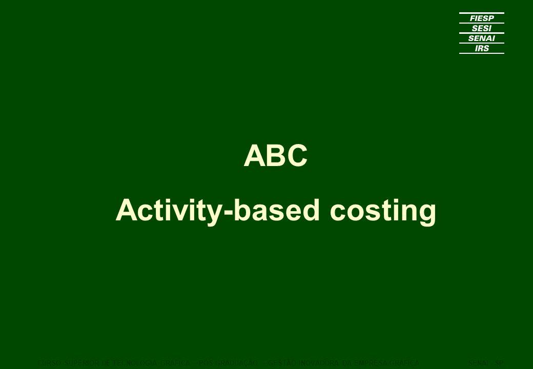 ABC Activity-based costing CURSO SUPERIOR DE TECNOLOGIA GRÁFICA – PÓS GRADUAÇÃO – GESTÃO INOVADORA DA EMPRESA GRÁFICASENAI - SP