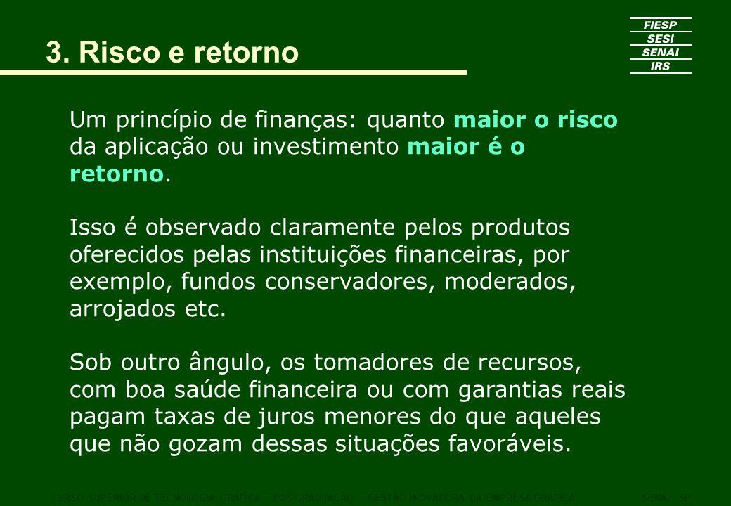 3. Risco e retorno Um princípio de finanças: quanto maior o risco da aplicação ou investimento maior é o retorno. Isso é observado claramente pelos pr