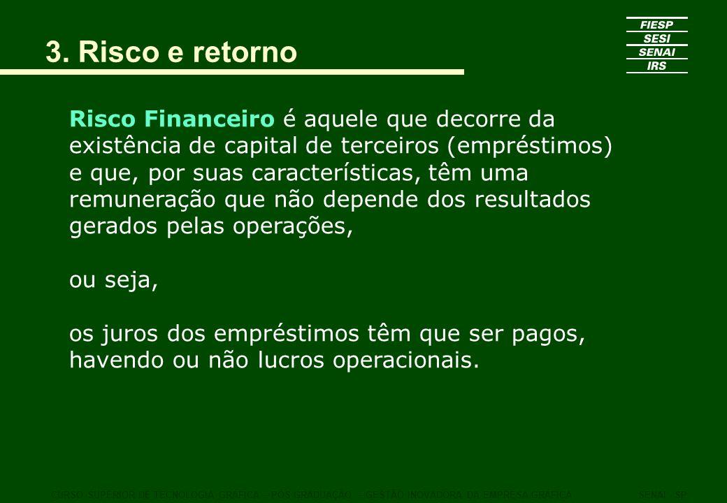 3. Risco e retorno Risco Financeiro é aquele que decorre da existência de capital de terceiros (empréstimos) e que, por suas características, têm uma