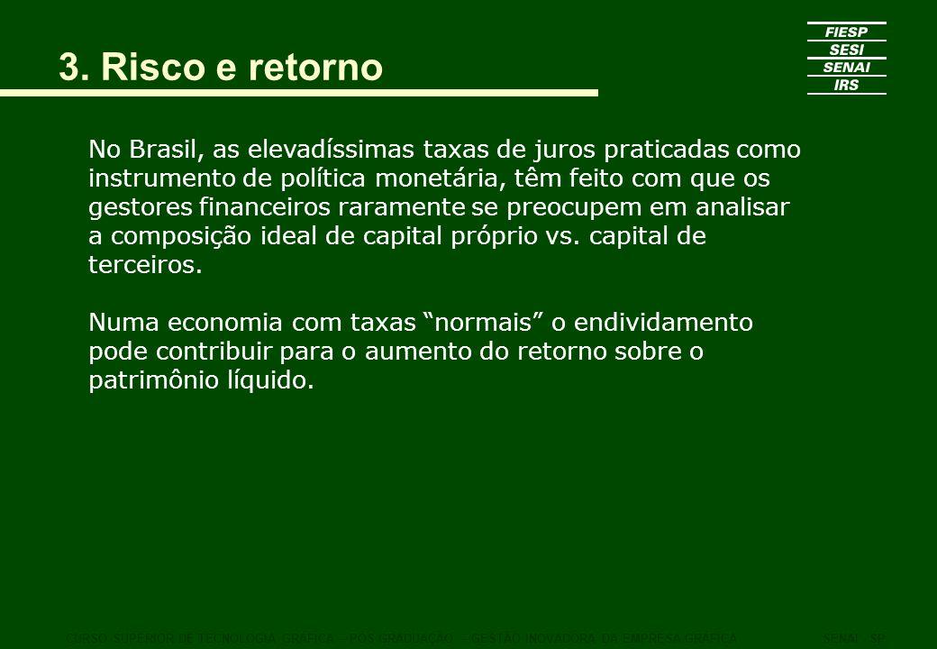 3. Risco e retorno No Brasil, as elevadíssimas taxas de juros praticadas como instrumento de política monetária, têm feito com que os gestores finance