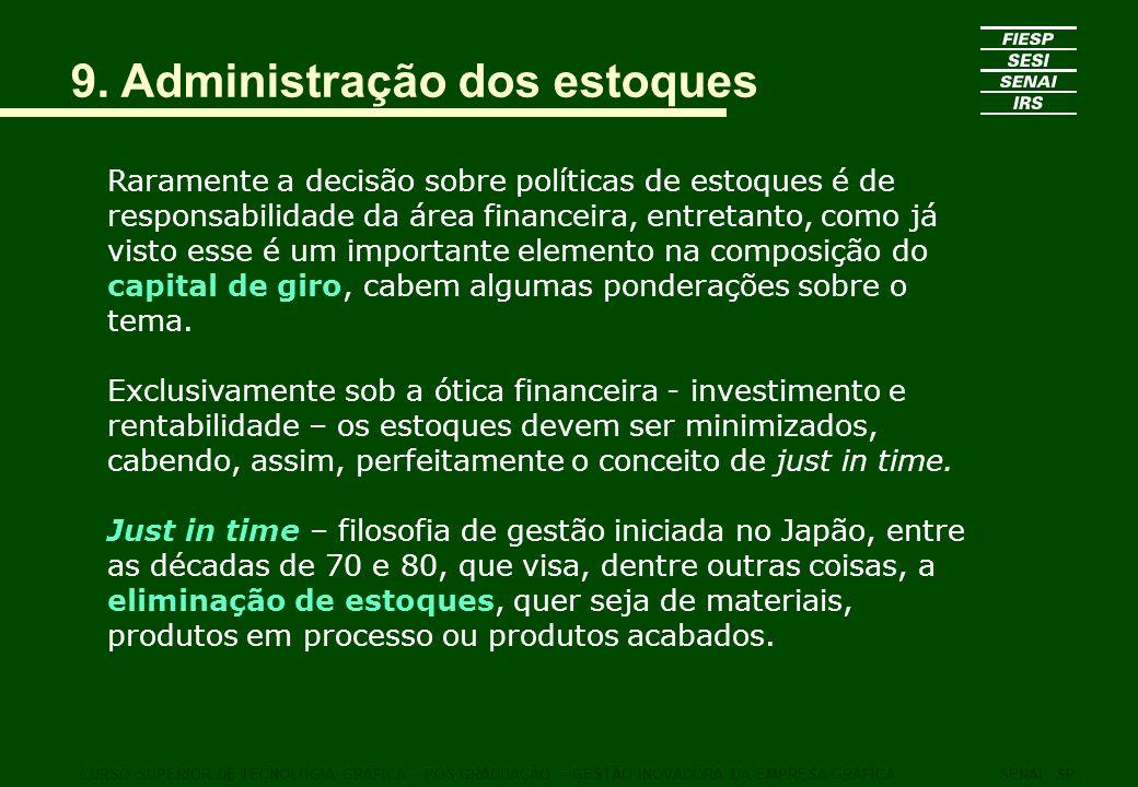 9. Administração dos estoques Raramente a decisão sobre políticas de estoques é de responsabilidade da área financeira, entretanto, como já visto esse
