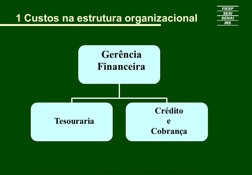 1 Custos na estrutura organizacional CURSO SUPERIOR DE TECNOLOGIA GRÁFICA – PÓS GRADUAÇÃO – GESTÃO INOVADORA DA EMPRESA GRÁFICASENAI - SP Gerência Fin