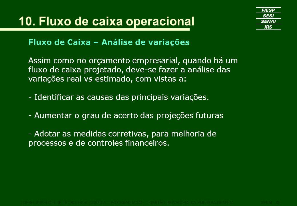 Fluxo de Caixa – Análise de variações Assim como no orçamento empresarial, quando há um fluxo de caixa projetado, deve-se fazer a análise das variaçõe