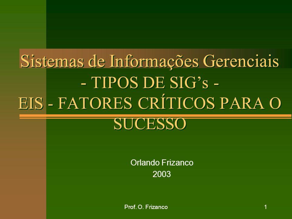 Prof. O. Frizanco1 Sistemas de Informações Gerenciais - TIPOS DE SIGs - EIS - FATORES CRÍTICOS PARA O SUCESSO Orlando Frizanco 2003